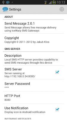 Send Message + SMS Server - screenshot