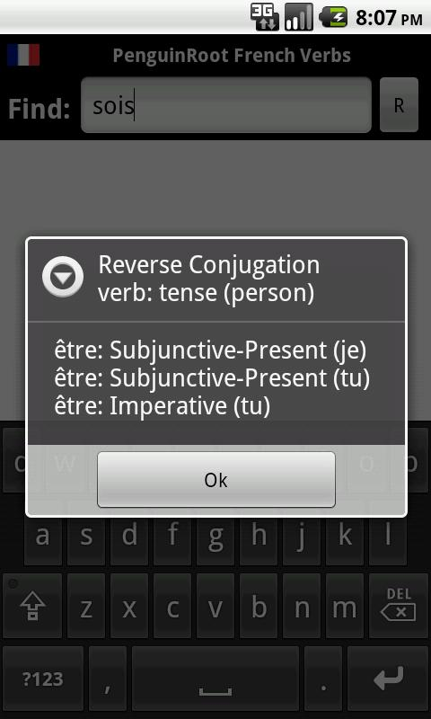PeguinRoot French Verbs - screenshot