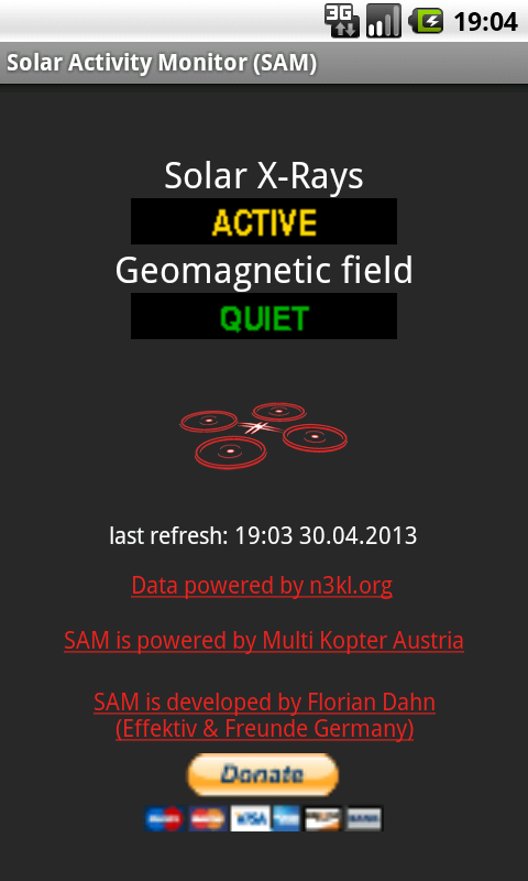 Solar Activity Monitor (SAM)- screenshot