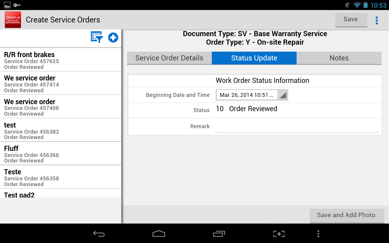 Service Order Entry - JDE E1- screenshot
