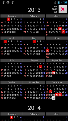 ZA Holidays Annual Calendar