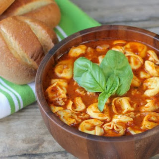 Easy Tomato Basil Soup With Chicken Sausage and Cheese Tortellini.