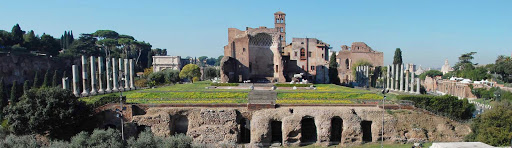 Palatine-Panorama-Rome - A shot of Palatine Hill in Rome. Legend says this is where Romulus killed his twin and founded Rome in 753 BC.