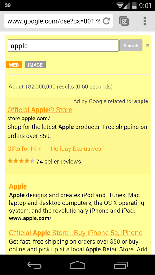 Yellow Search for Google™ - screenshot