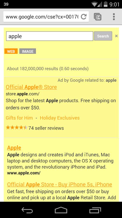 Yellow Search for Google™ - screenshot