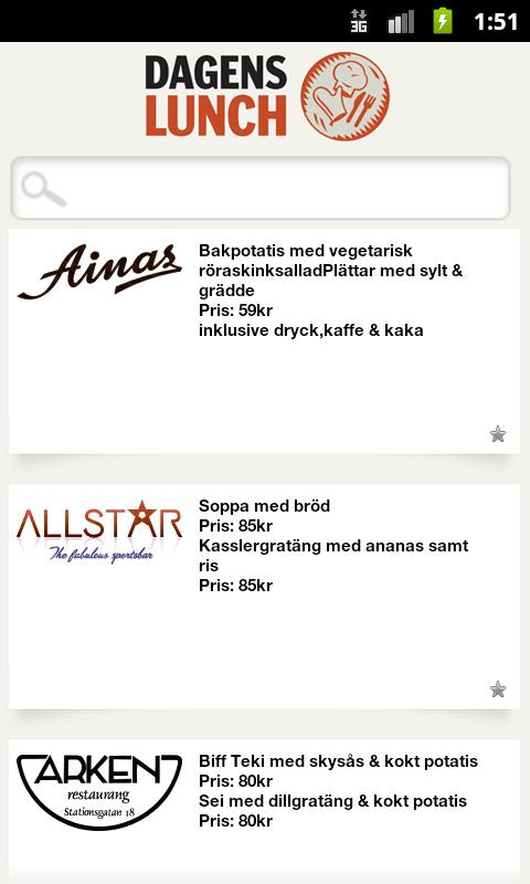 Dagens Lunch Norran - screenshot