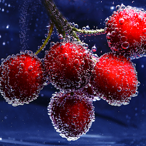 Some more cherries by Roman Kolodziej - Food & Drink Fruits & Vegetables ( water, red, blue, fresh, fruits, oxygene, bubbles, healthy, cherries, Food & Beverage, meal, Eat & Drink,  )