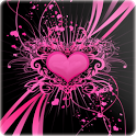 3D Love heart background icon