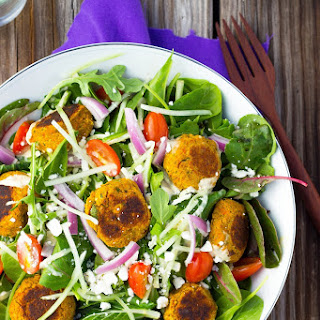 Roasted Carrot Falafel Salad with Citrus Tahini Dressing.
