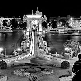 Girl above Chain Bridge of Budapest by Péter Mocsonoky - City,  Street & Park  Street Scenes ( illuminated, destinations, old, silhouette, stone, travel, architecture, cityscape, capital, people, danube, historic, attraction, city, dark, light, structure, budapest, national, art, tourism, hungarian, landmark, tourist, traffic, european, scene, view, town, bridge, culture, calm, famous, europe, looking, monument, evening, water, hungary, building, beautiful, suspension, chill, urban, blue, chain, night, buda, river,  )