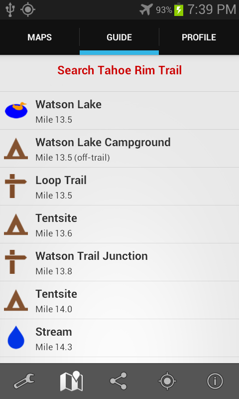 Guthook's Tahoe Rim Trail- screenshot