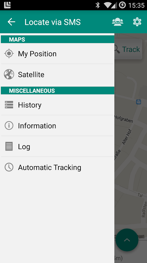 Locate via SMS- screenshot