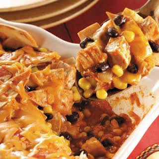 Chicken, Black Bean and Corn Enchilada Casserole.