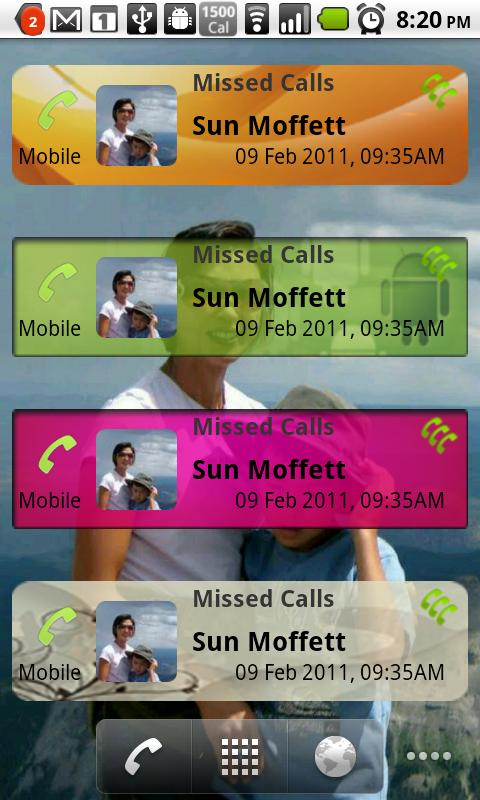 Missed Calls Widget - screenshot