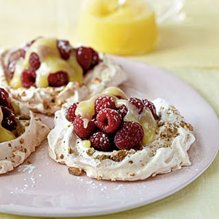 Pistachio Pavlovas with Lemon Curd and Berries.