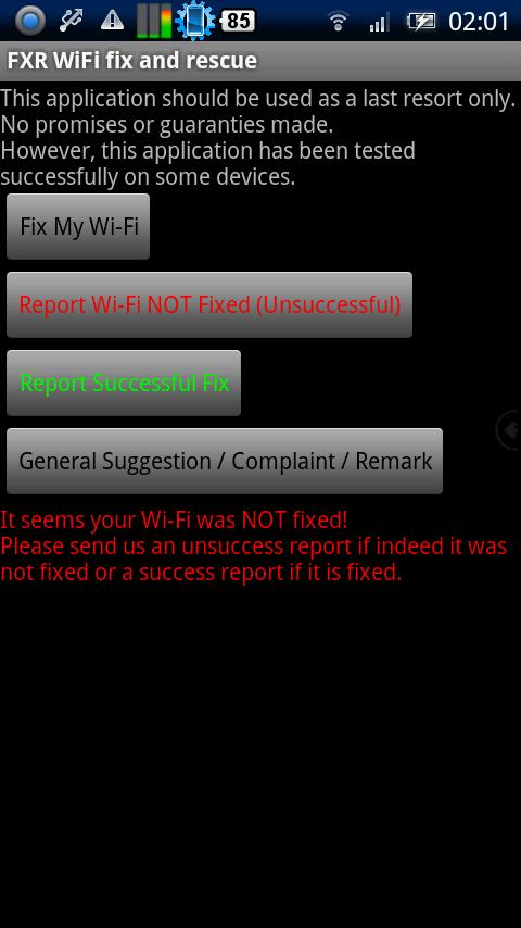 FXR WiFi fix and rescue- screenshot