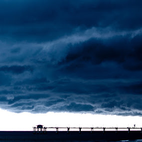 Pier Pressure by Andrew Hale - Landscapes Cloud Formations ( clouds, florida, pier, beach, storm, dock )