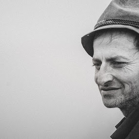 Mountain shepard by Paul Padurariu - Black & White Portraits & People ( mountains, negative space, old man, paul padurariu photography, shepard, portrait, , Travel, People, Lifestyle, Culture )