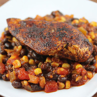 Blackened Chicken with Beans.