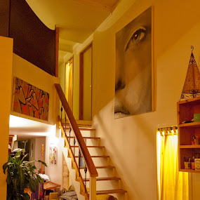 watching you by GUILLAUME FUNFROCK - Buildings & Architecture Other Interior ( stair, wood, paint, yellow, light )