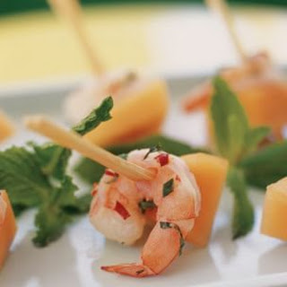 Shrimp, Cantaloupe and Fresh Herb Skewers