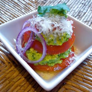 Broccoli Cilantro Pesto with Heirloom Tomatoes and Aged Manchego. Recipe