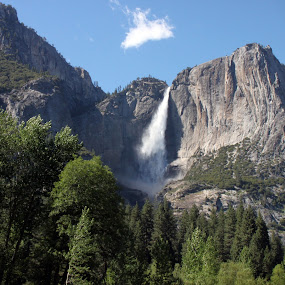 Yosemite falls by Kirsten Gamby - Landscapes Mountains & Hills ( mountain with cloud, yosemite, yosemite falls, waterfall, tallest waterfall yosemite,  )