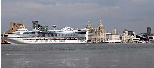 Caribbean-Princess-Liverpool - Caribbean Princess at the Cruise Terminal of Liverpool, England.