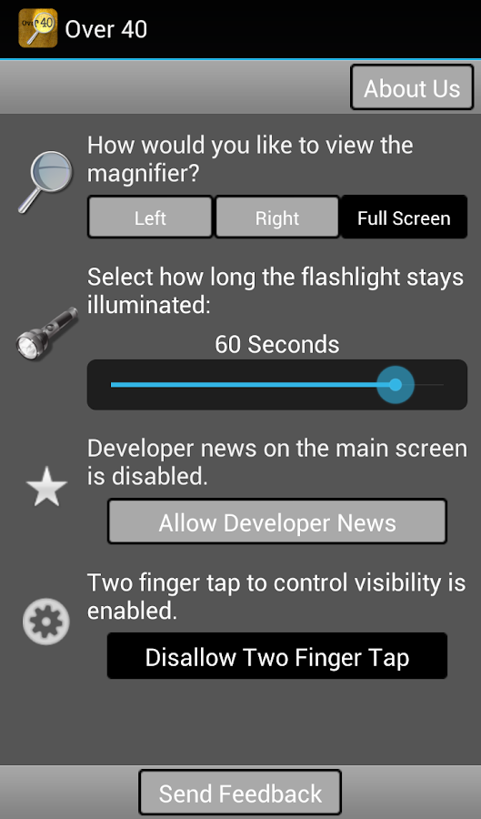Over40 Magnifier & Flashlight - screenshot