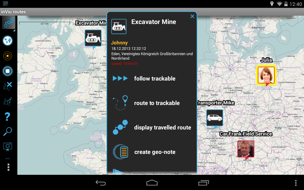 inViu routes GPS tracker OSM- screenshot