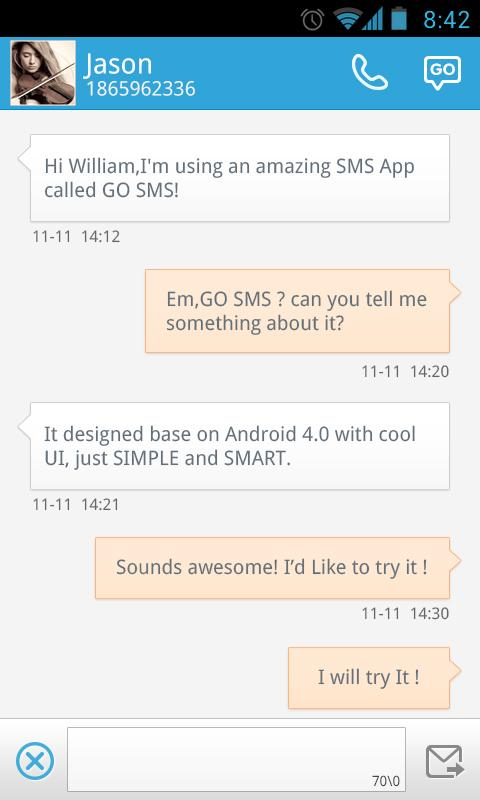 GO SMS Pro Free Message Plugin - screenshot