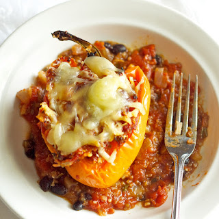 Tangy Mushroom & Quinoa Stuffed Bell Peppers