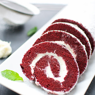 Red Velvet Cake Roll with Cream Cheese Filling Recipe