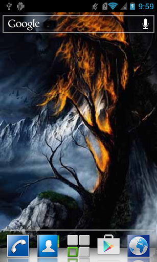 Face of death and fiery tree