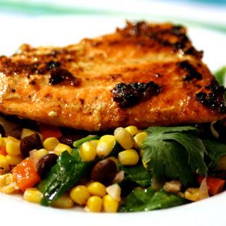 Honey Glazed Salmon and Black Bean Corn Salad