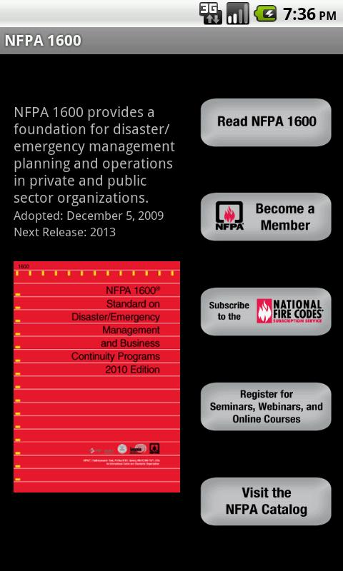 NFPA 1600 2007 Edition - screenshot