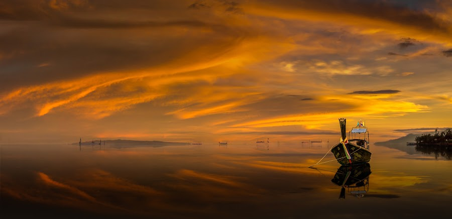 The Long Tail Boat by Iambong Gee - Transportation Boats ( clouds, sunset, longtail boat )