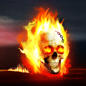 3D Burning skull Atom Theme