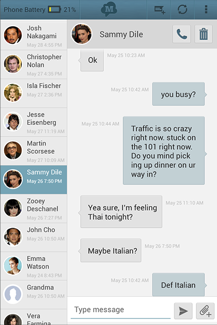 SMS Text Messaging ↔ Tablet - screenshot