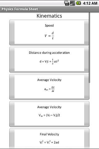 Free Physics Formula Sheet - screenshot