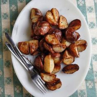 Potatoes with Sautéed Horn of Plenty Chanterelles.