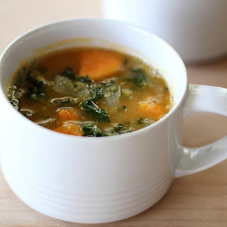 Red Lentil Soup with Sweet Potatoes and Kale.