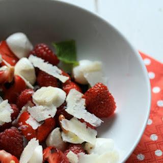 Strawberry Raspberry Mozzarella and  Parmesan Salad.