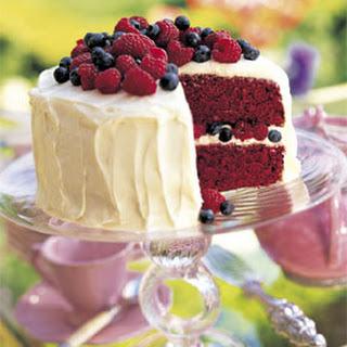 Red Velvet Cake with Raspberries and Blueberries.