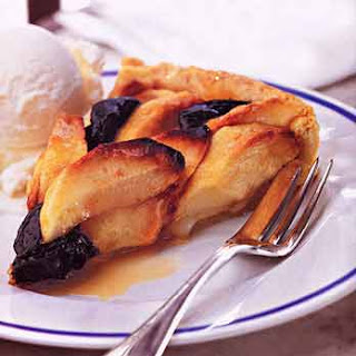 Apple and Prune Tart with Vanilla Ice Cream and Cognac