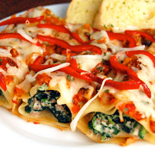 Baked Lamb & Spinach Manicotti Bundles