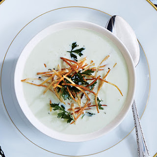 Leek Soup with Shoestring Potatoes and Fried Herbs Recipe