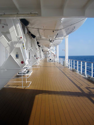 The promenade deck, or upper deck, aboard MSC Opera. Start at the top of your ship and work your way down.