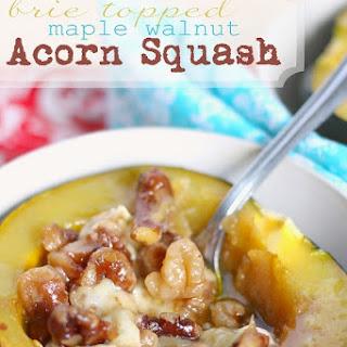 Brie Topped Maple Walnut Acorn Squash.