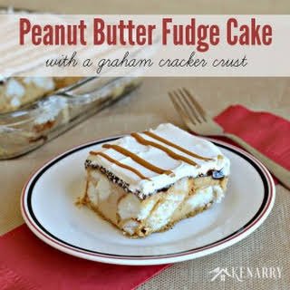 Peanut Butter Fudge Cake with a Graham Cracker Crust.